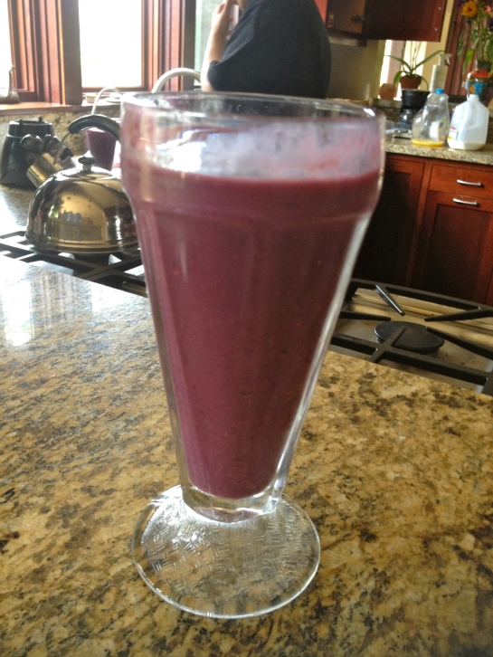 Ben's delicious smoothie that he made us filled with blackberries, raspberries, bananas, orange juice, and milk. Healthy and filling. That was my cleanse day.