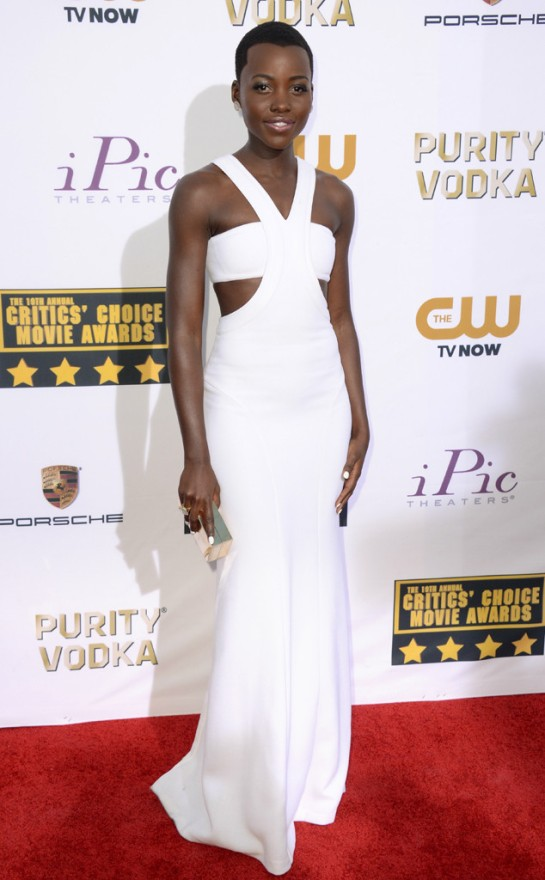 The actress rocked this custom Calvin Klein dress at the Critics Choice Awards