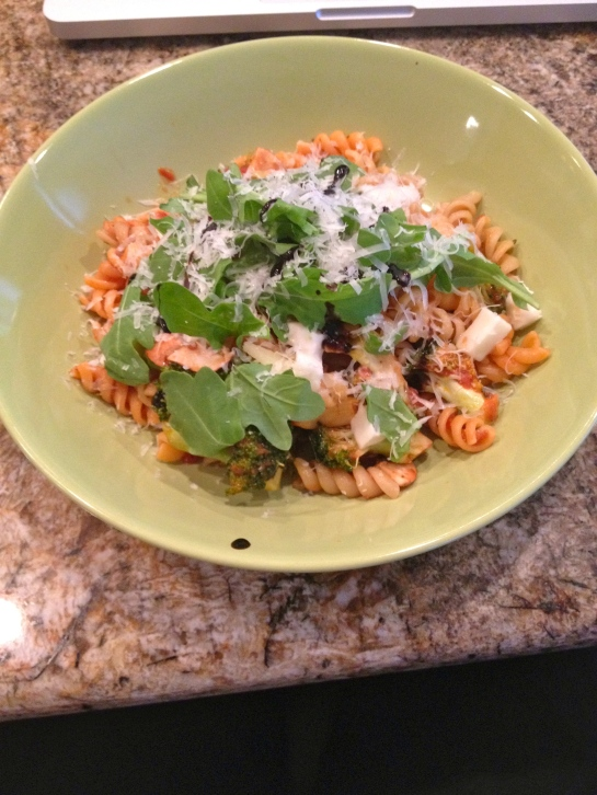 The final product: tricolor veggie rotini with garlicky tomato and red wine pasta sauce with the mushrooms and broccoli, topped off with the arugula, fresh mozzarella, balsamic glaze, and parmesan.