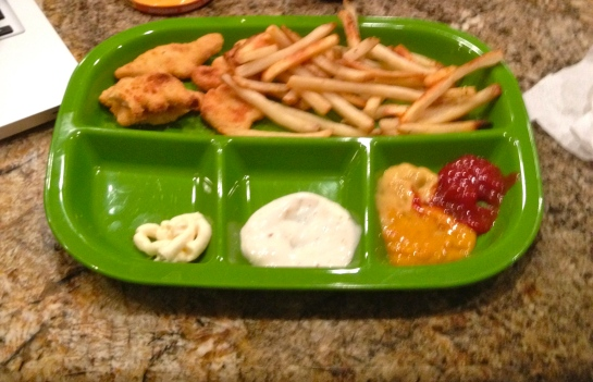 My first meal back: my favorite dinosaur shaped chicken nuggets and fries with a selection of dips; mayo, ranch, honey mustard, spicy mustard, and ketchup.