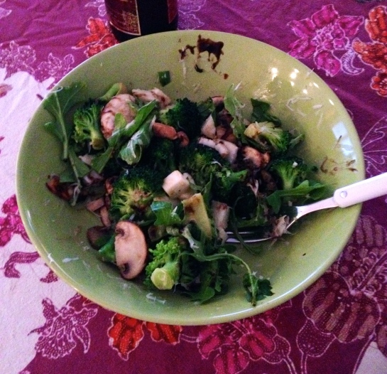 Quick and light lunch: sautéed broccoli and mushrooms with olive oil, garlic and lemon juice, topped with some fresh mozzarella, arugula, parmesan, lemon zest and of course balsamic glaze.