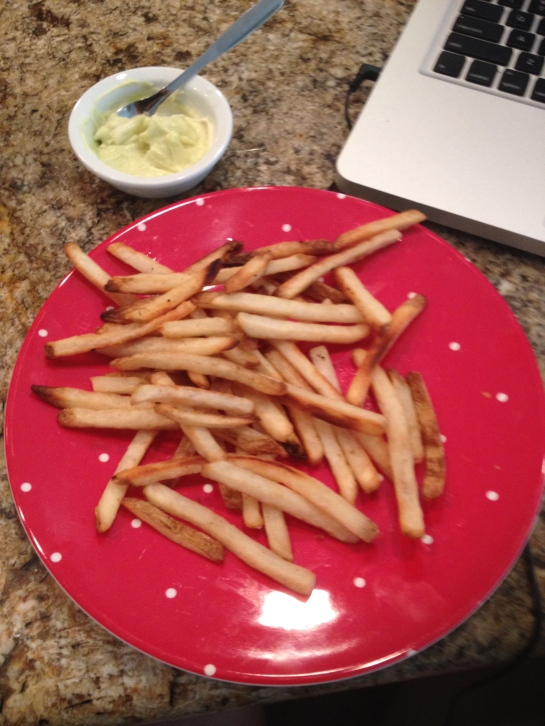 Lunch of sea salt french fries and some wasabi mayo dip