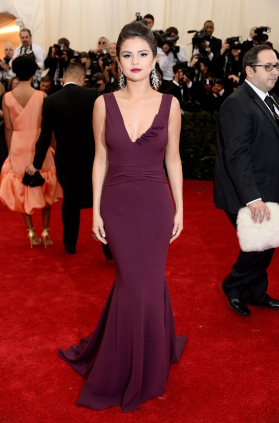 Selena Gomez in a plum DVF number