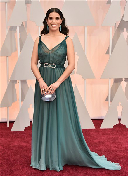 America Ferrera in a teal Jenny Packham gown