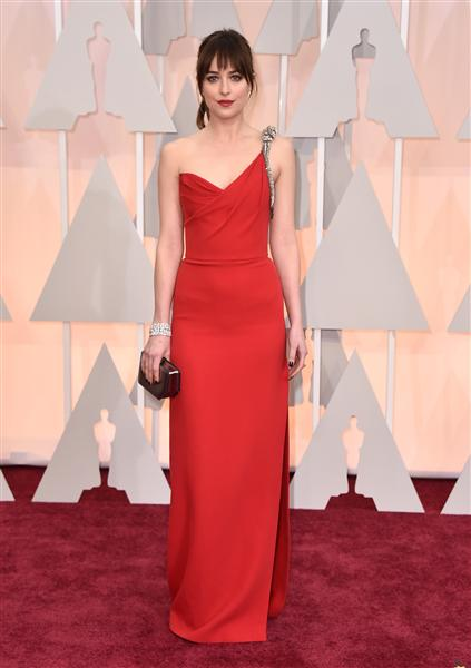 Dakota Johnson channelled her 'inner goddess' in a rouge Saint Laurent gown