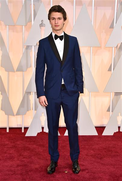 Ansel Elgort rocked a classy navy suit