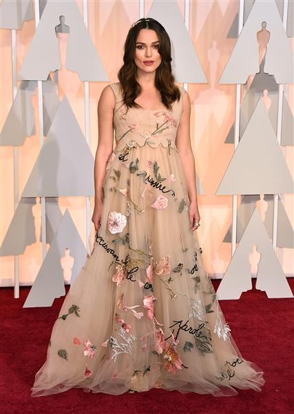 Keira Knightly in a floral Valentino piece