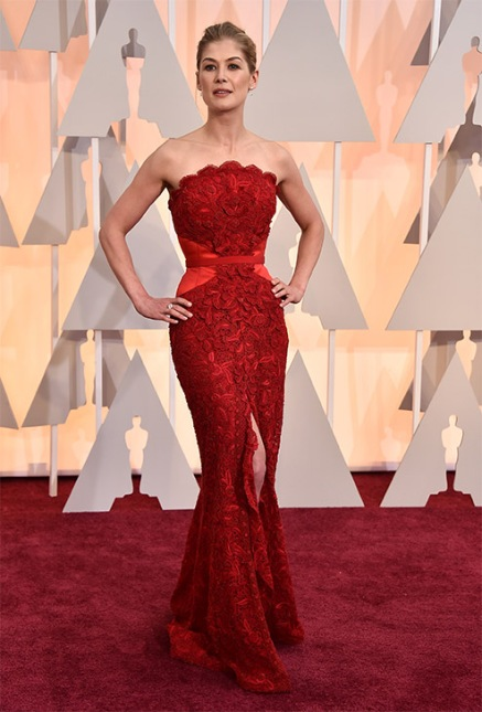 Rosamund Pike sizzled in a red Givenchy gown