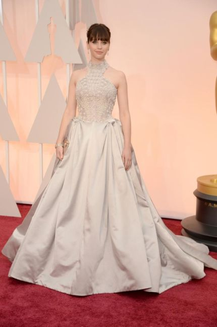 The Best Actress nominee wore a silvery white Alexander McQueen halter gown